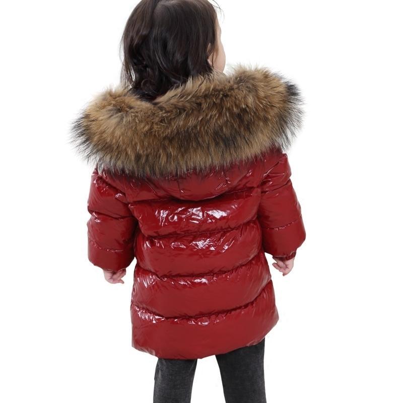 2-6y bebê da neve do inverno desgaste -30 Degree Rússia Inverno Crianças Vestuário Meninas Moda Quente Jacket Meninos Big Fur 90% pato branco para baixo T191013