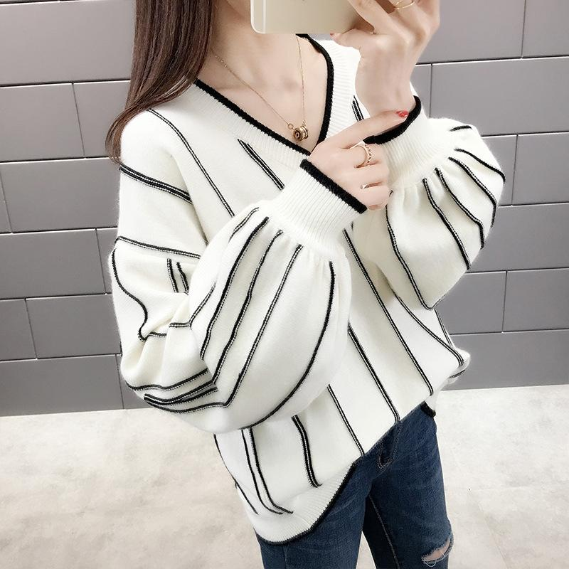 Long Lantern Sleeve Knitted Sweater Women V Neck Contrast Color Loose Pullover Knitted Sweaters Autumn Winter Warm Sweater New