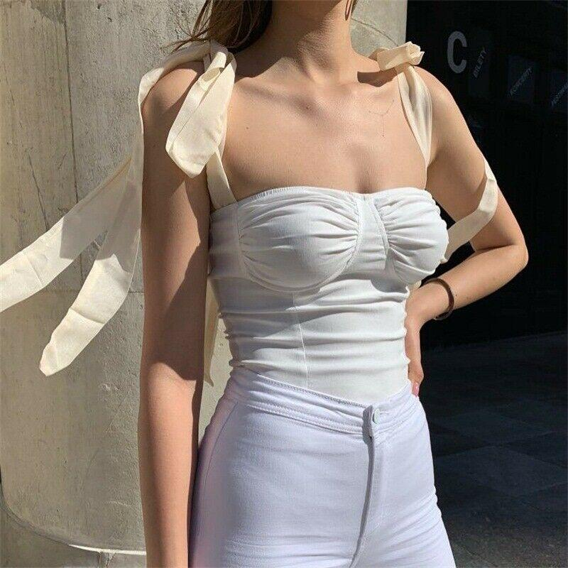 Hot Women Sleeveless Bodycon Bust Casual Blouse Bandage Crop Tank Tops Vest Tube
