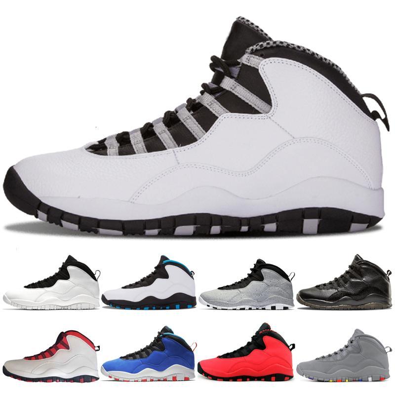 al por mayor 10 10s del gris de acero zapatos de los hombres de cemento baloncesto Tinker Westbrook clase de 2006 en blanco y negro gris fresco de los linces de las zapatillas de deporte