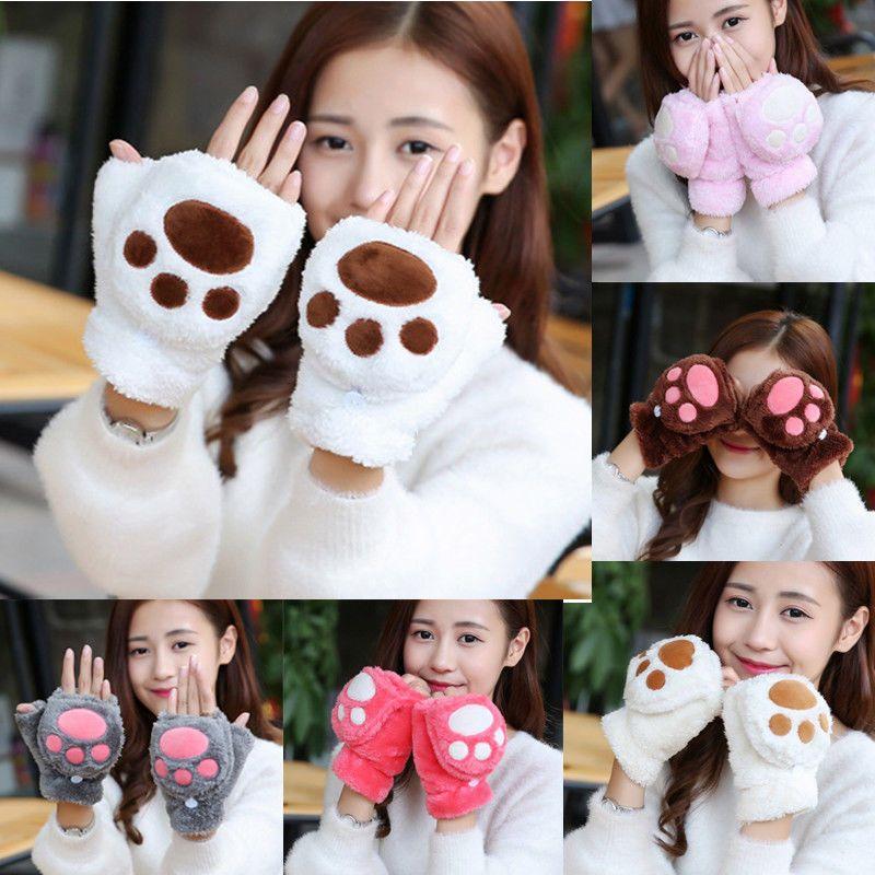 2019 NEW Women Girl Winter Warm Thermal Wrist Gloves Lady Cartoon Touch Screen Soft Plush Fingerless Cat Claw Paw Mitten Gloves