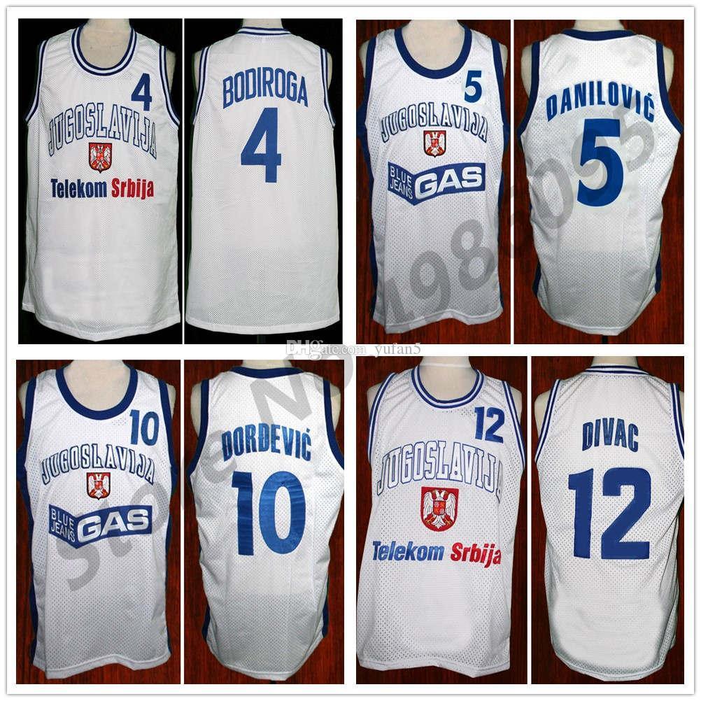 4 Dejan Bodiroga 5 Predrag Sasha Danilovic 10 Aleksandar Djordjevic 12 Vlade Divac Jugoslavija Yugoslavia Retro Basketball Jerseys Mens