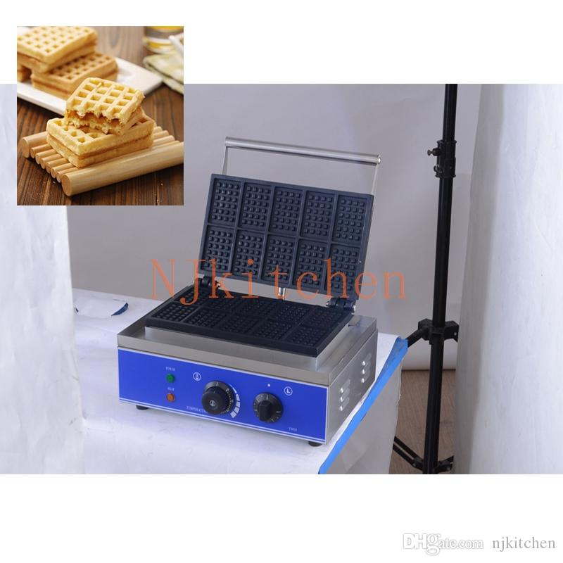 Ticari 10pcs Beligian Brüksel Waffle makinesi Yapışmaz Liege Yumurta Waffle Makinesi Baker Demir Fırın Pan yapma