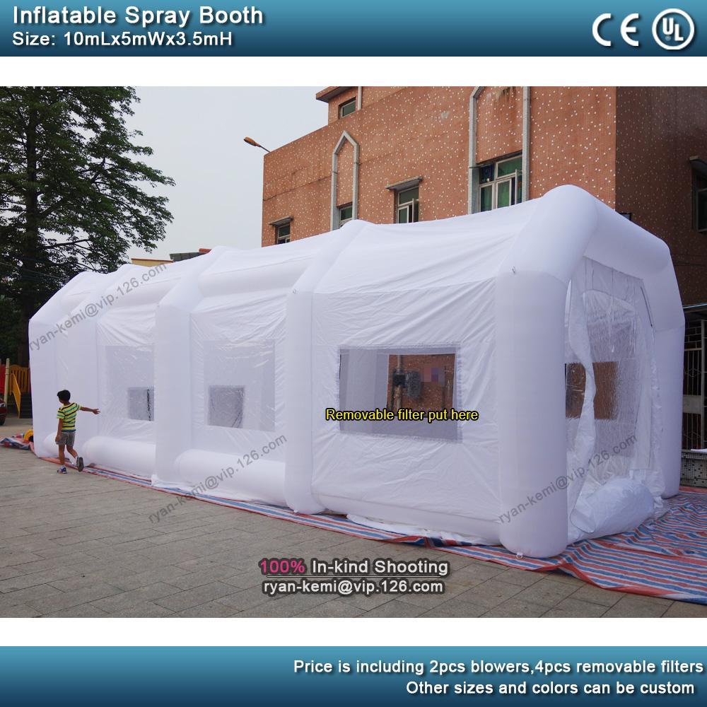 10 متر * 5 متر * 3.5 متر الأبيض المحمولة الطلاء كشك كبير نفخ رذاذ كشك للبيع نفخ رذاذ خيمة لسيارة اللوحة المرآب خيمة