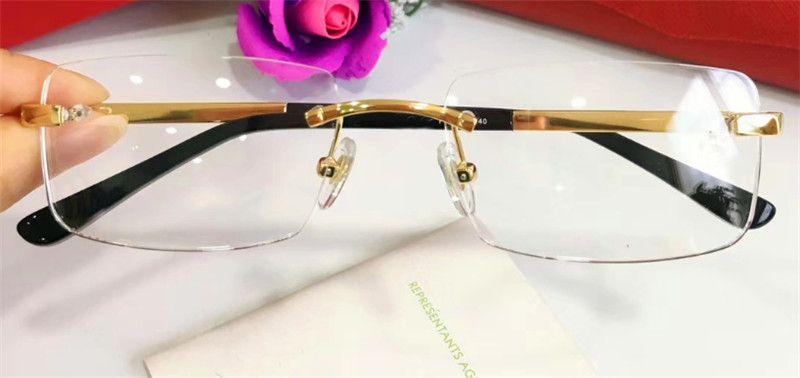 En çok satan kutu 820.097 erkekler iş tarzı gözlük üst kalite için çerçeve 18k çerçeve altın kaplama ultra hafif optik gözlük bacaklar gözlük