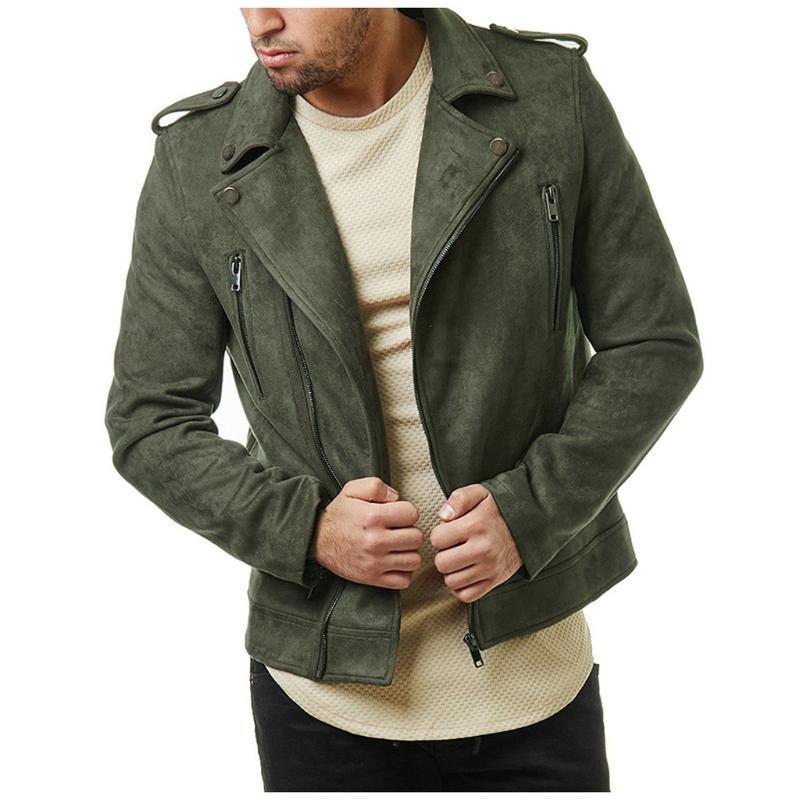 Al por mayor-Nueva gran chaqueta de cuero de la solapa de los hombres diagonal corta cremallera de la chaqueta de gamuza para los hombres