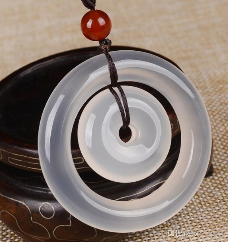 graines de glace blanc naturel collier pendentif boucle de sécurité agate calcédoine