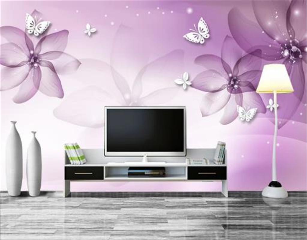 Individuelle Tapeten 3D Lila Dreamy Blumen-Weiß-Schmetterling Wohnzimmer Schlafzimmer Hintergrund Wanddekoration Wandbild Tapete
