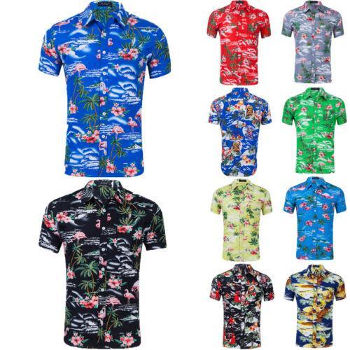 Moda Camicia hawaiana Mens Fiore Beach Aloha partito casuale vacanze manica corta camicia più il formato S-2XL