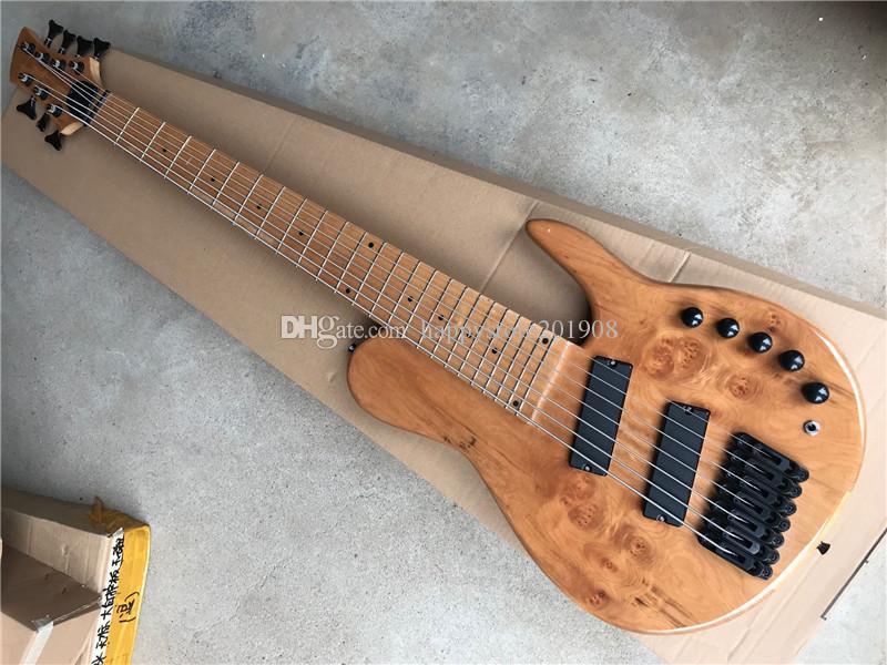 7 cordes Maple Fingerboard originale cou traversantes Guitare basse électrique avec ventilateur Frets, matériel noir, offre customize