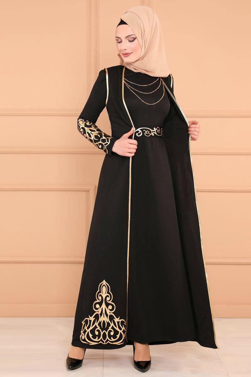 Islamic Muslim Maxi Long Robe Women Middle East Gilding Print Mermaid Dress Dubai Arab Clothing Abaya Turkish Evening Gown With Vest