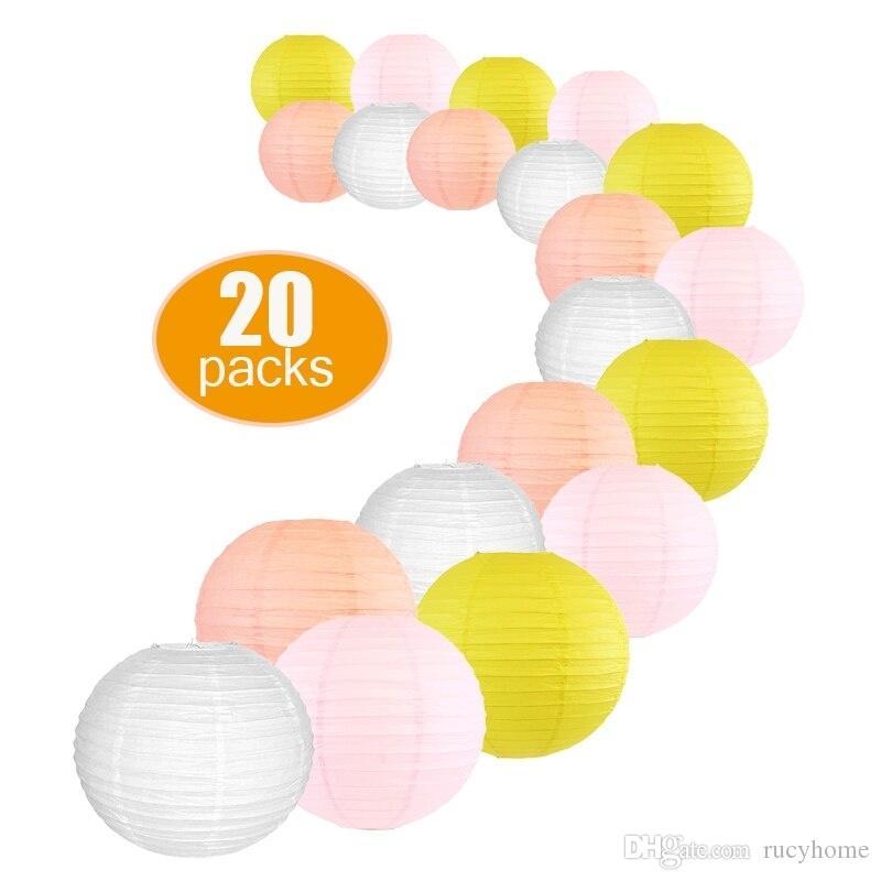 20 Pcs Per Set DIY Paper Lantern Mixed Sizes Wedding Supplies White Peach Pink Lemon paper Ball for Birthday Party Hanging Decor