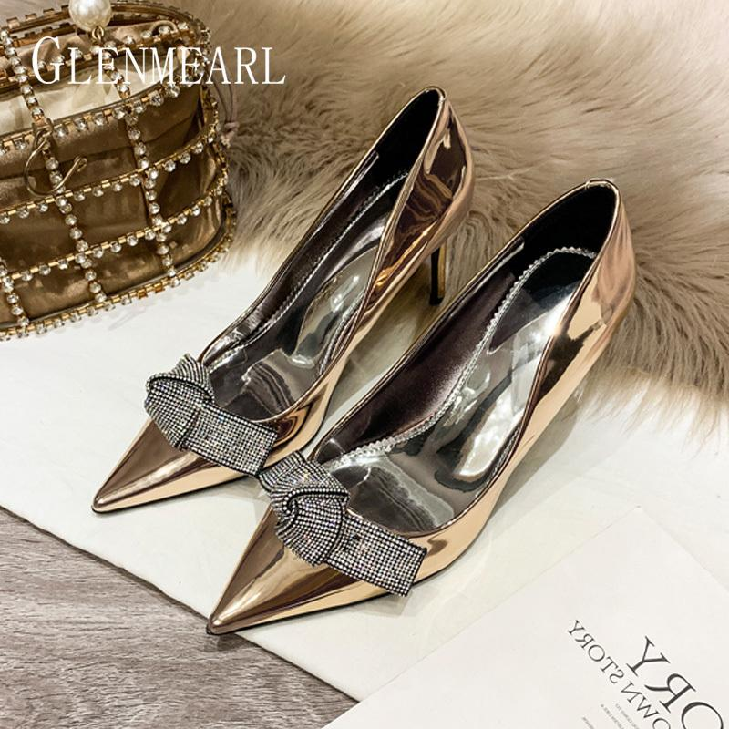 Women Wedding Shoes High Heels Luxury Rhinestones Woman Pumps Sliver Pointed Toe Butterfly-knot Spring Autumn Party Shoes 2019