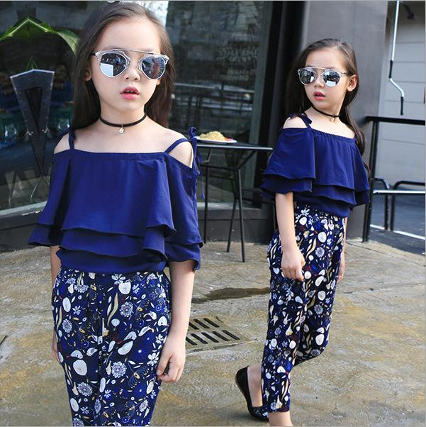Fashion Summer Girls Clothing Set 2020 Children Off Shoulder Tops Floral Pants 2Pcs Kids Outfits Teen Girl Clothes 5 6 7 8 Years CY200515