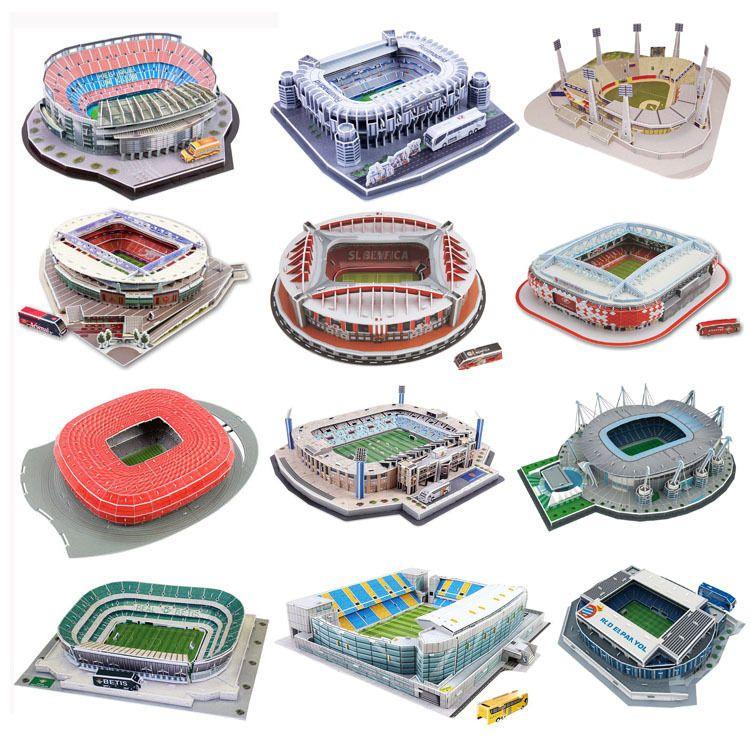 Clássico Puzzle Jigsaw DIY 3D World Football Stadium Europeu Parque de Futebol montado Edifício Modelo enigma Brinquedos para Crianças Y200413