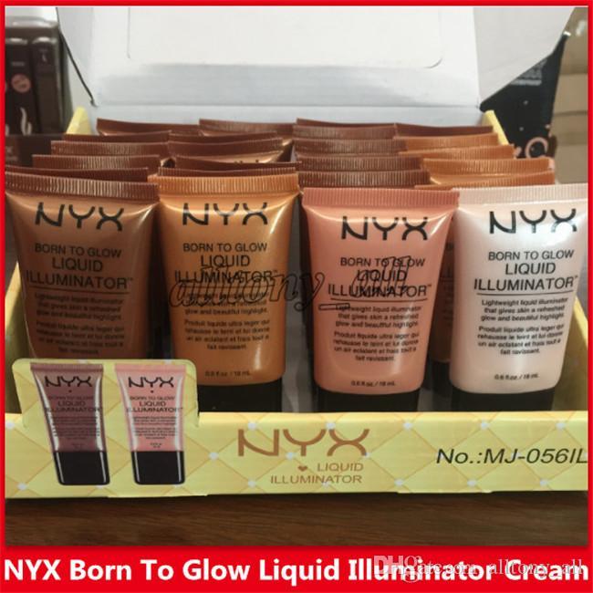 DHL gratuit NYX Fond de teint liquide visage Correcteur Maquillage Born To Liquid Glow Illuminateur BB Crème Make Up poudre cosmétiques soins de la peau 18ml