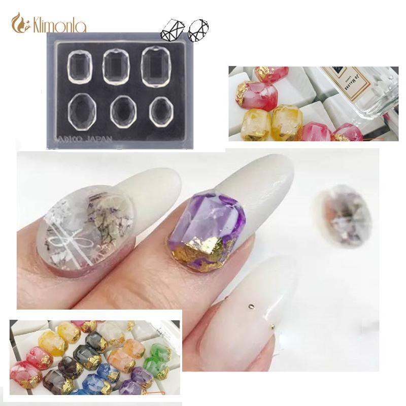 18 teile / los neue kreative silikon 3d form für nail art dekorationen nagel formen edelstein herz kristall bär muster wiederverwendbare weiche form