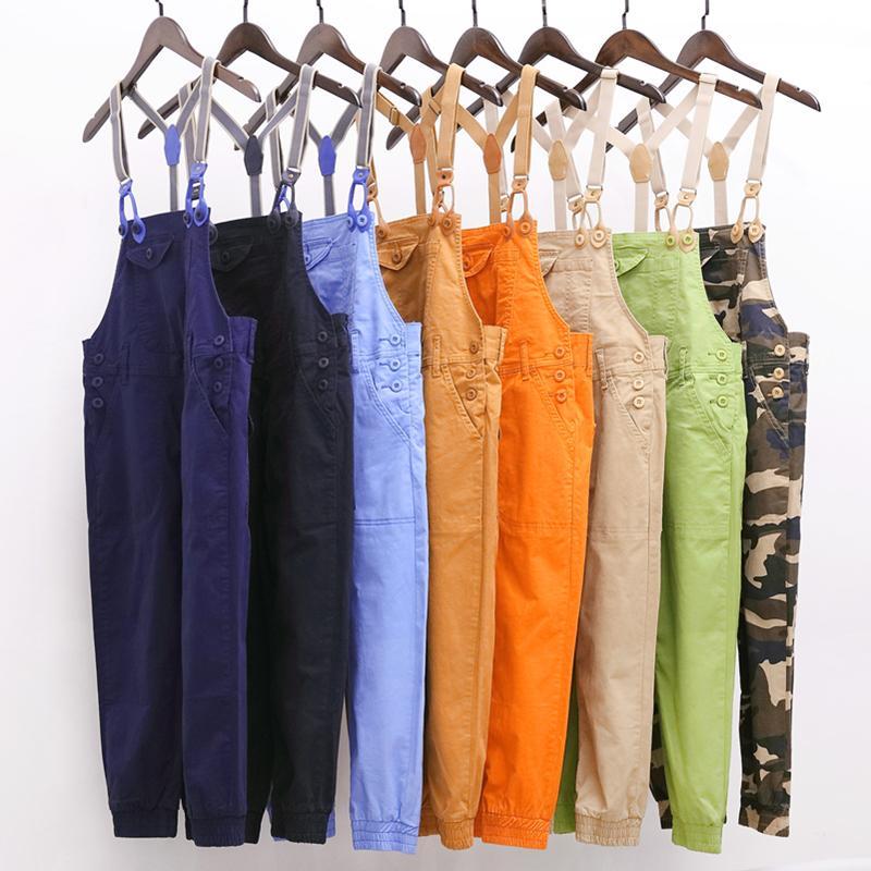 Flojo ocasional de los guardapolvos del tobillo de longitud sólido pantalones de los nuevos hombres de moda de talle alto bolsillos de los pantalones A41