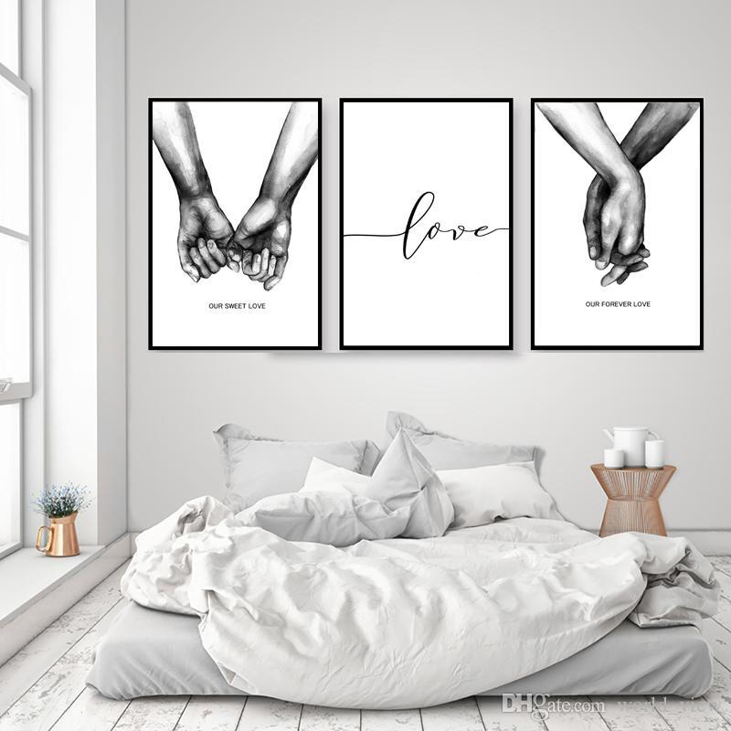 مل 3pcs الشمال المشارك دافئ أبيض وأسود القابضة الأيدي قماش يطبع عاشق نقلت جدار الفن صور لغرفة المعيشة خلاصة الحد الأدنى الرئيسية