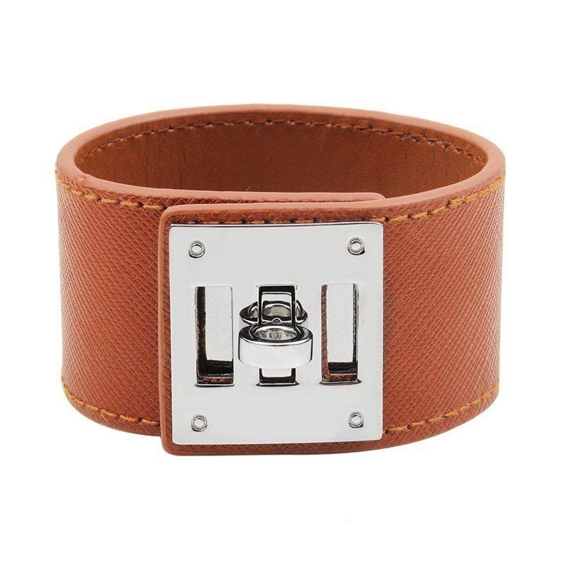 Bracciale in pelle donne di lusso braccialetti del braccialetto semplice in acciaio Blocco disegno largo avvolgere gioielli fascino femminile bracciali