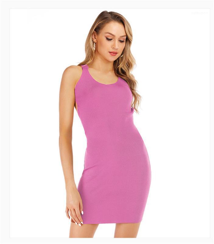 Ropa de diseño atractivo sin respaldo Wrap mujeres vestidos de moda con cuello redondo sin mangas de Bodycon de los vestidos de verano para mujer casuales