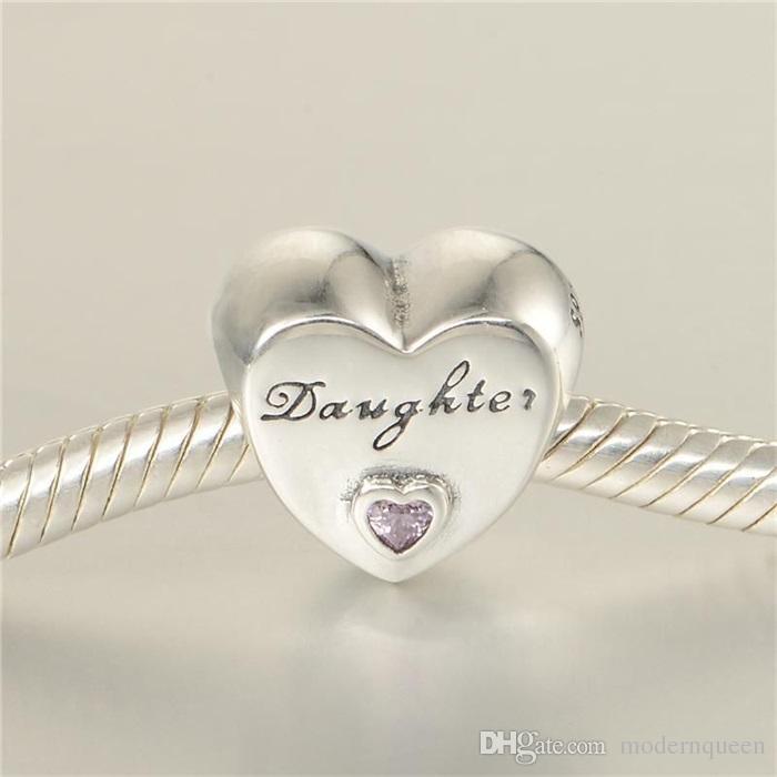 5pcs / lot Genuine figlia amore cuore Charms S925 sterling silver adatti braccialetti di stile originale 791726pcz h9