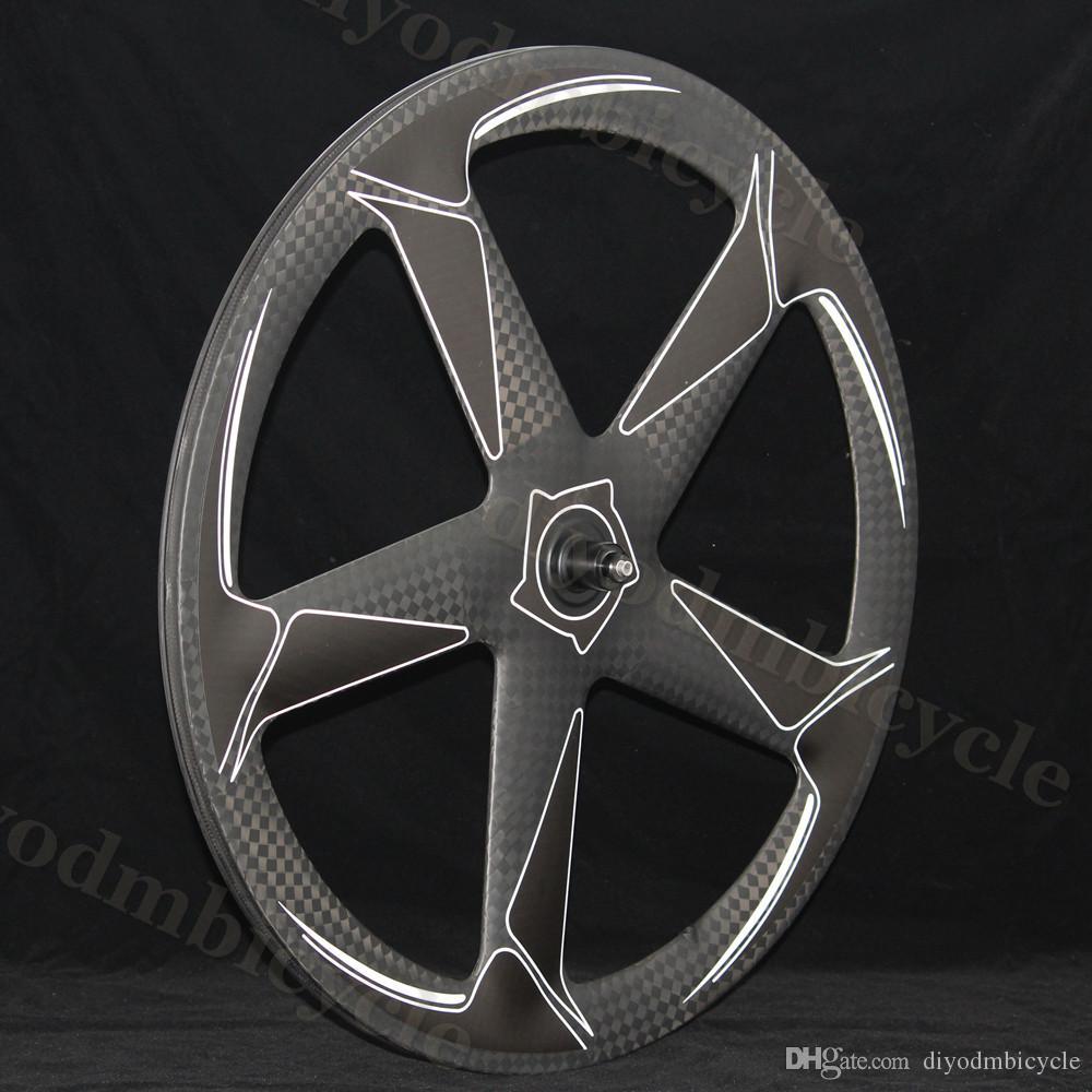 트랙 / 도로 자전거 바퀴에 대한 5 스포크 휠 도로 허브 700C 탄소 또는 마무리 매트 또는 광택 OEM 3K / UD 카본 휠 커플
