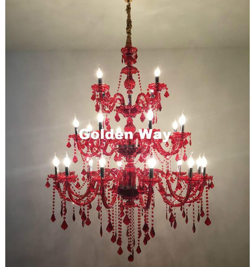 램프 매달려 대형 샹들리에 광택 조명 빌라 골동품 레드 유리 크리스탈 샹들리에 램프 LED 블랙 샹들리에 Lampadario 호텔 데코