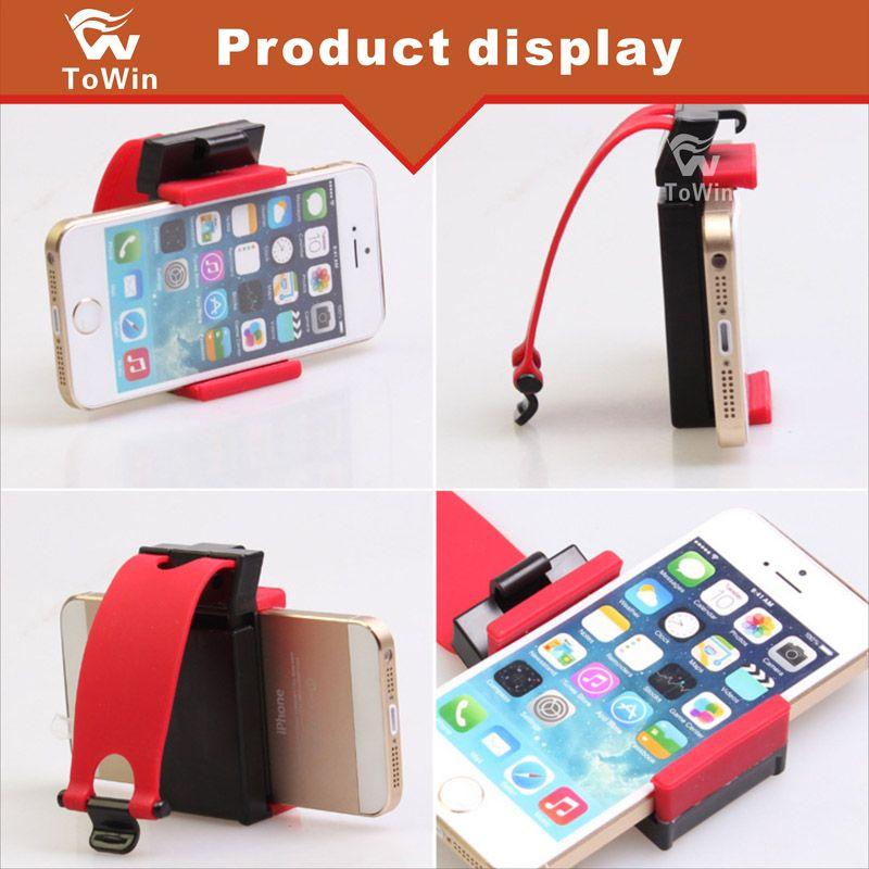 Comercio al por mayor GPS Navigator Bracket Coche Volante Cuna Teléfono Socket Holder Inteligente Teléfono móvil Clip retráctil de goma elástica cubierta de la caja