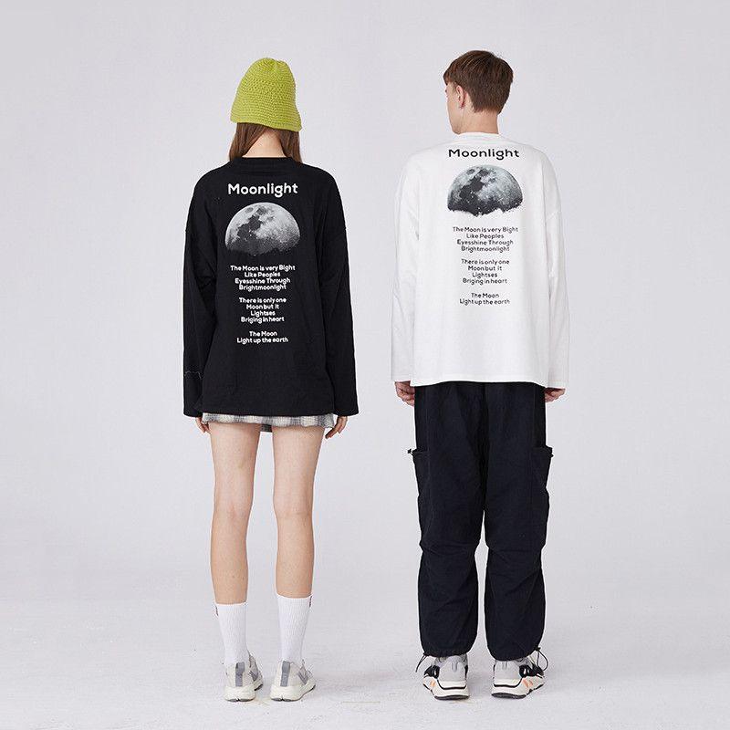 Diseño para mujer para hombre camisetas de moda para mujer para hombre verano camisetas Marca de manga larga de cuello redondo camisetas Spring Moon Poesía camisa 2051105V