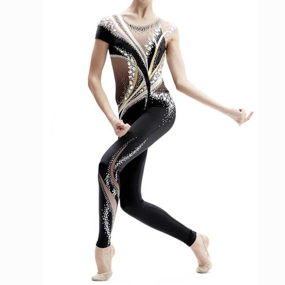 Body Girls' di ginnastica ritmica TUTA Body alta elasticità mano Jeweled Ginnastica artistica Body Donne