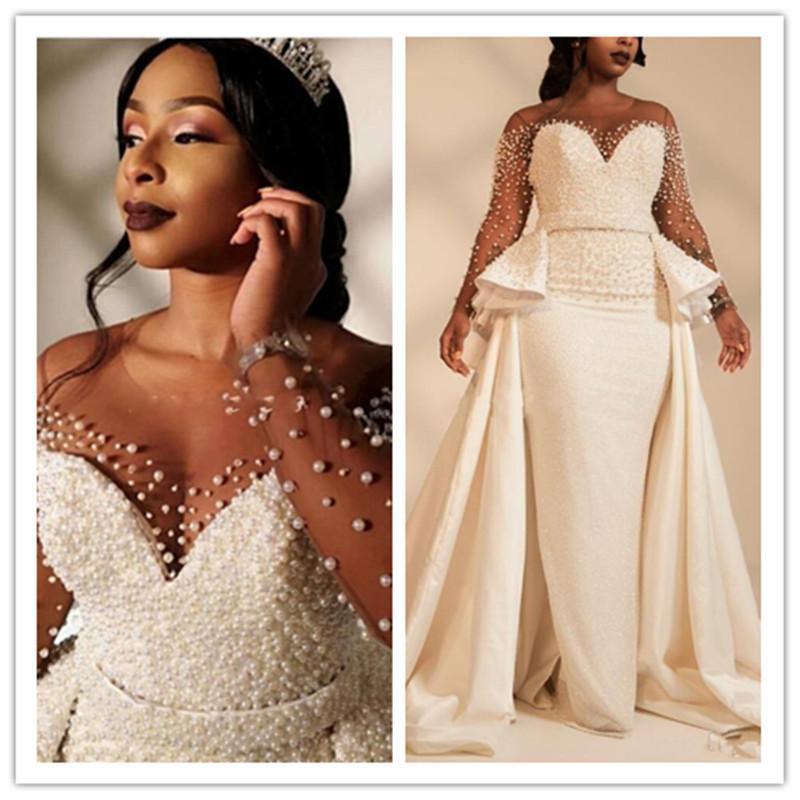 Pearls Beaded African Arabic Sheath Wedding Dresses Overskirts Sheer Long Sleeves Bridal Gown Plus Size Detachable Train robe de mariee