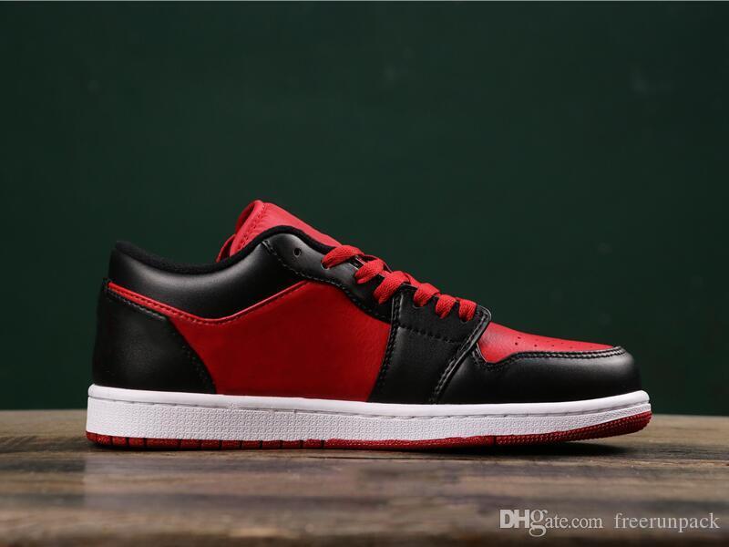 Los mejores zapatos de diseño Calidad Baja 1 Gimnasio Rojo Negro Blanco Hombre baloncesto de la manera que OG Chicago 553558-610 Mujer zapatillas vienen con la caja