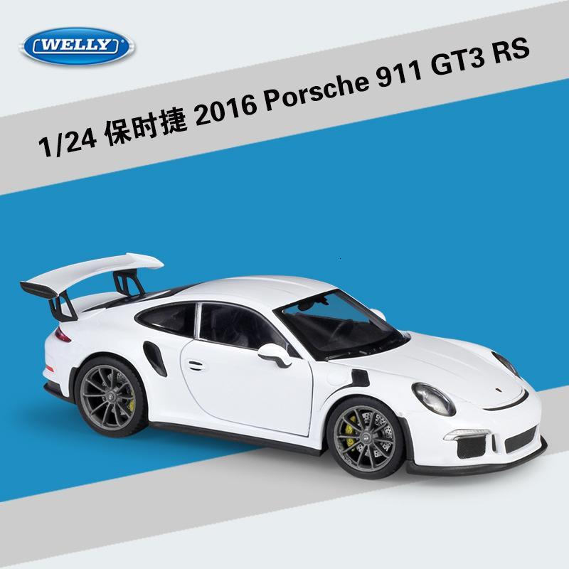 Welly 1:24 Ölçekli Simülatörü Model Araba Alaşım Porsch 911 (997) GT3 RS Spor Araba Döküm Metal Oyuncak Araba Yarışı İçin Çocuk oyuncakları Hediye T191129