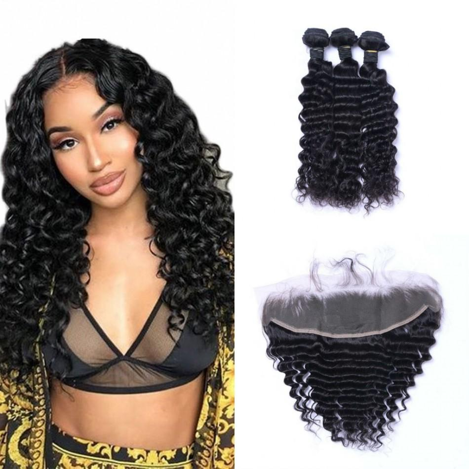 Brazilian Virgin Human Hair Bundles with Frontal 13x4 Ear to Ear Lace Frontal Deep Wave Hair Extensions 8-26 inch