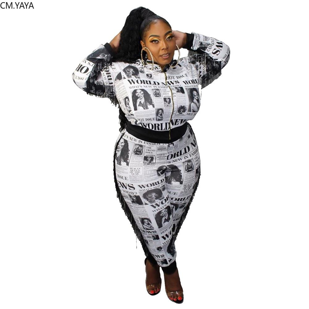 Women Sets Full Sleeve Tops Pants Suit Newspaper Print Sexy Night Club Party Two Piece Outfits Plus Size L-5XL 739