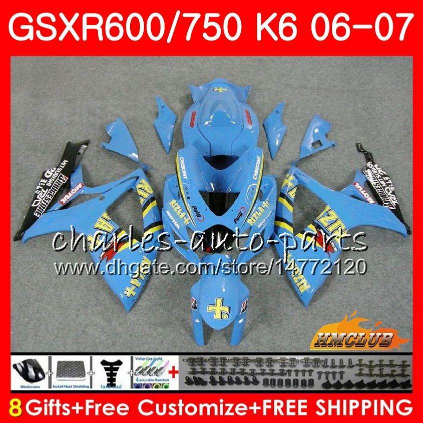 Corpo RIZLA Azul quente Para SUZUKI GSX R600 GSX-R750 GSXR-600 GSXR600 06-07 8HC.57 GSX R750 GSXR 600 750 06 07 K6 GSXR750 2006 2007 Kit de carenagem