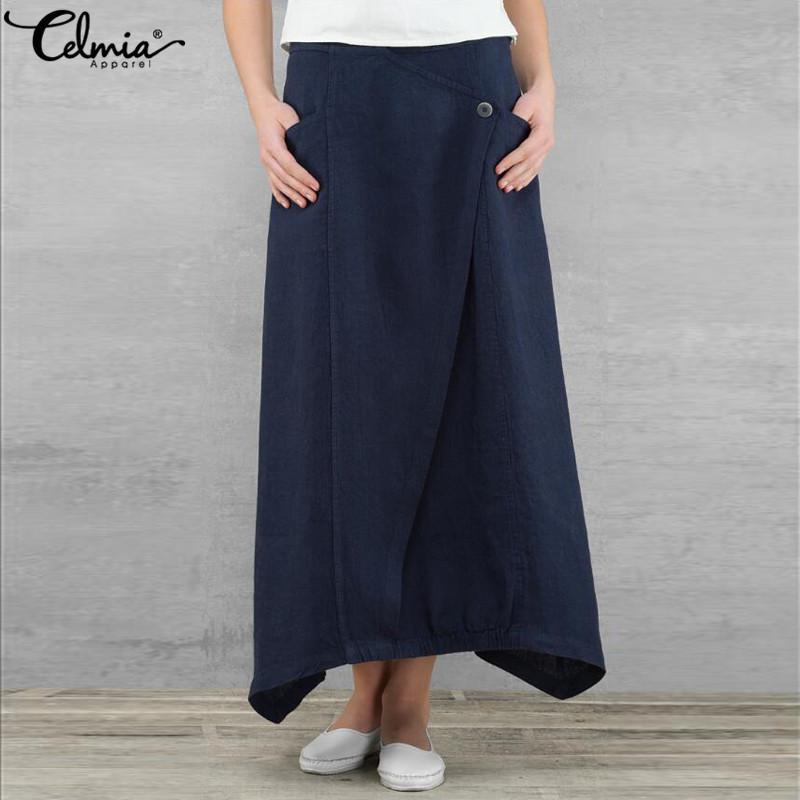 Celmia Tallas grandes falda larga de cintura alta asimétrica de las mujeres maxi faldas de primavera verano playa Saias Faldas Femme ropa Y19043002