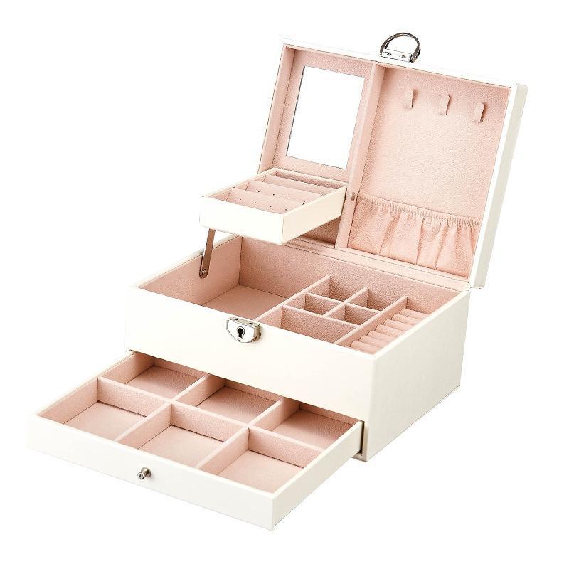 Juelee متعدد الوظائف تخزين مربع جلدية صندوق الجواهر مربع متعدد الطبقات سعة كبيرة منظم جوهرة مجوهرات منظم بورتا جو SH190723