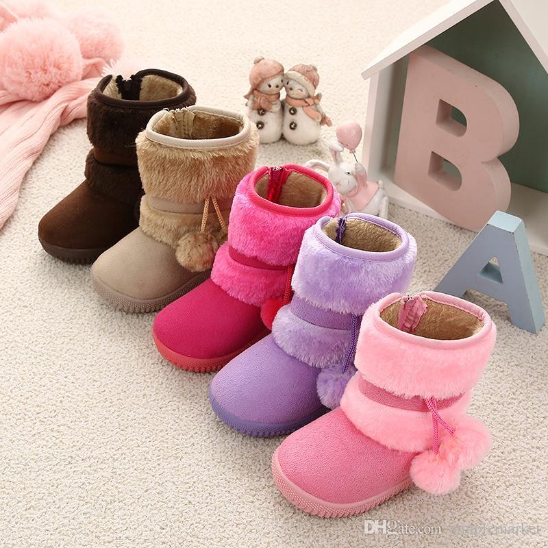 아이들 가죽 겨울 부츠 여자면 신발 부드러운 바닥 미끄럼 방지 따뜻한 낮은 튜브 어린이 눈 부츠 여성 디자이너 신발 여성 플랫