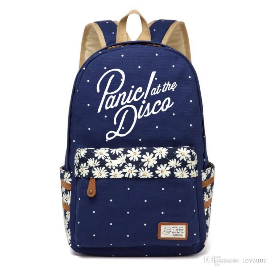 WISHOT Panic at the borse zaino delle donne delle ragazze di scuola del fumetto borsa a tracolla di viaggio DISCO borsa di tela Fiore