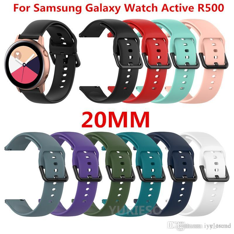 삼성 갤럭시 시계 액티브 SM-R500에 대한 새로운 20mm 손목 밴드 실리콘 스트랩 Huami amazfit Gear Sport Ticwatch 2 Replacement Watch Bands