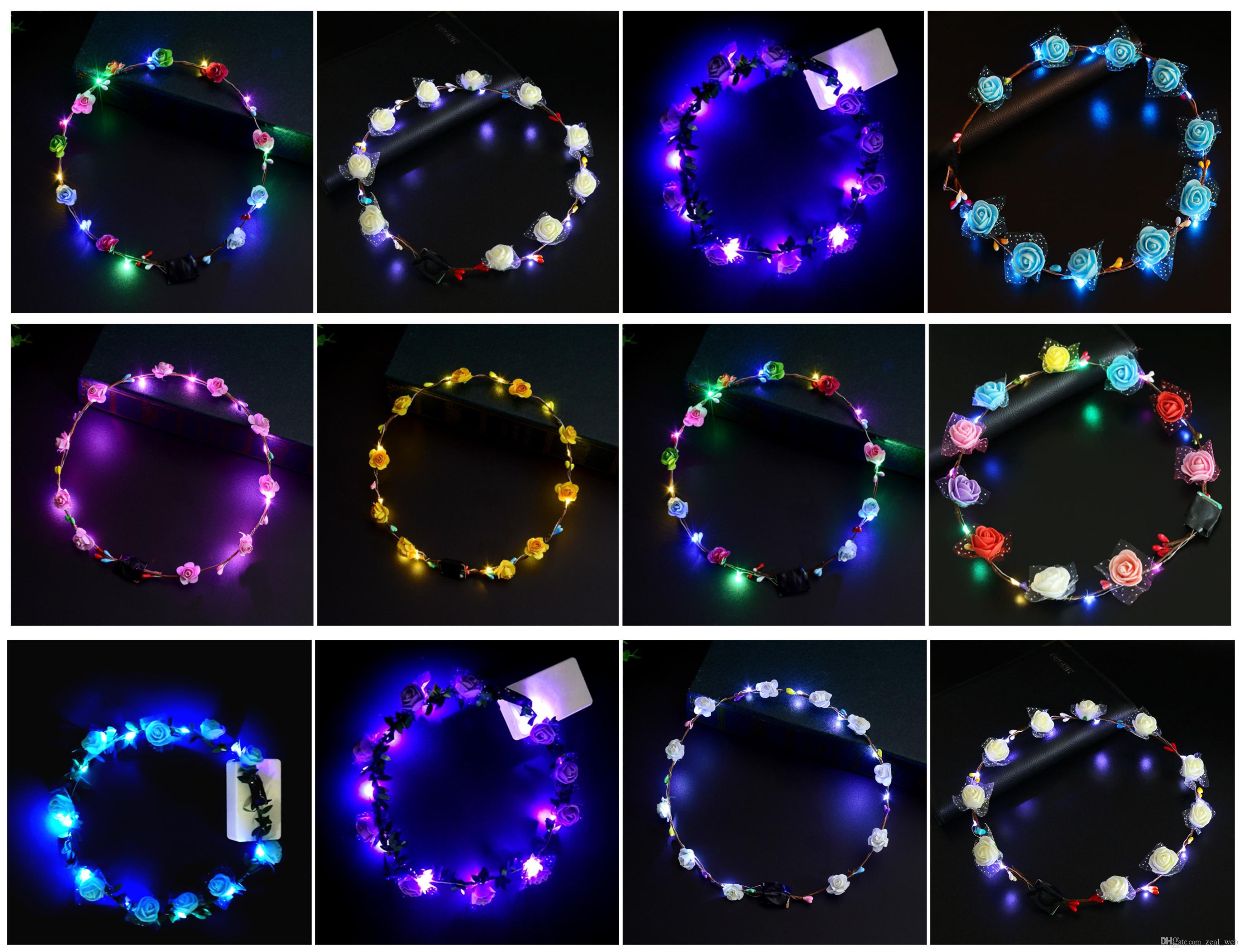 DHL Free LED Светящиеся Shine Garland Блеск волос Цветочные Венок Luminous оголовье для венчания партии Фестиваль Десять ламп Десять цветов Multicolor