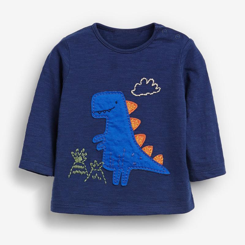 Baby Dino Blue Yellow Cotton Girl Toddler Long Sleeve Ruffle Shirt Top