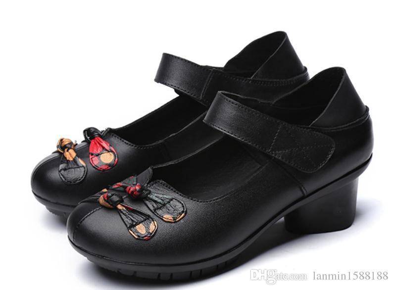 2019 Frauen Formal Wear Schuhe im Frühjahr und Herbst mit New Style Middle Heel Grobe Ferse runden Kopf Mutter Schuhe @ 989689