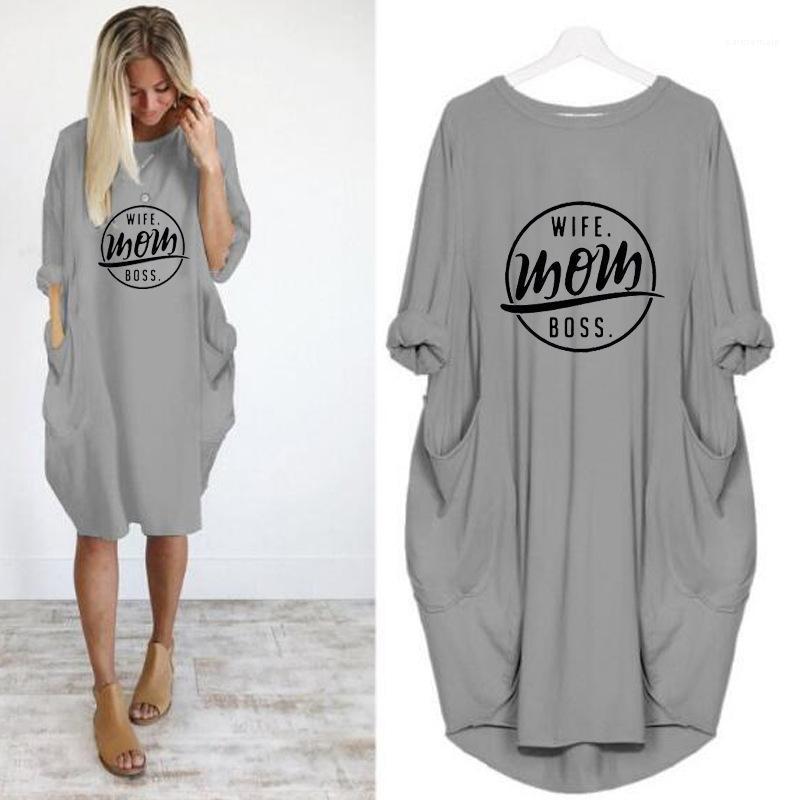 Süßigkeit farbige Brief-Druck-Kleid Solid Color Mode Damen Kleid mit Rundhalsausschnitt Short Sleeve Damen Kleider