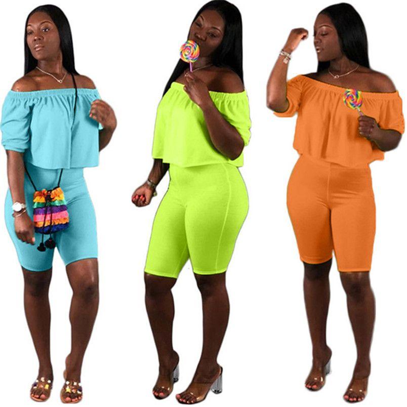 women track suit outfits track suit tee top sexy suit pullover short sleeve slash neck crop top 2 piele set 636