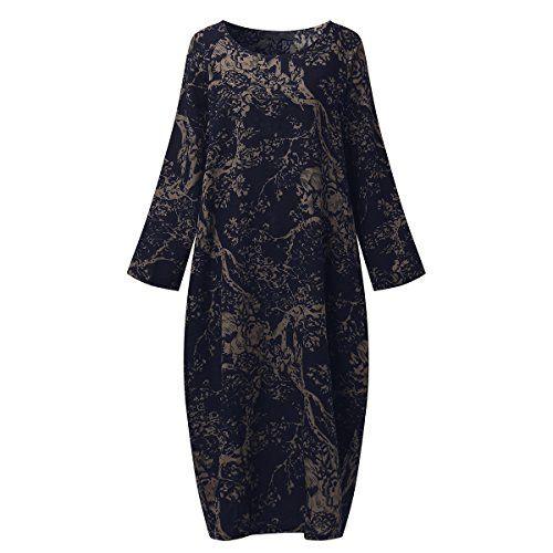 As mulheres de SIMSHION mais o tamanho afrouxam o vestido longo maxi do vintage de Kaftan da cópia floral com luva