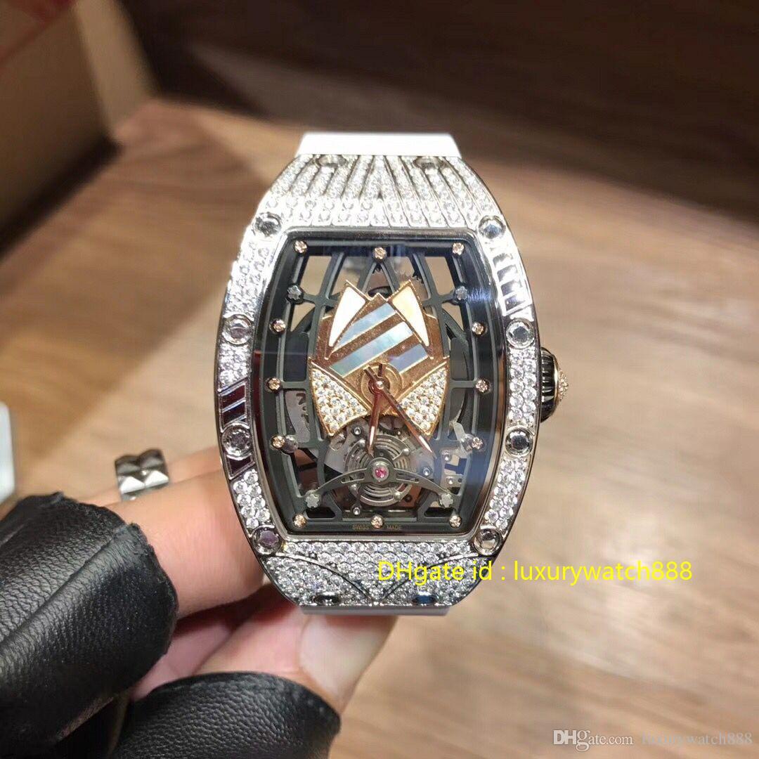 Femme Designer Montre de luxe avec diamant automatique mécanique Movment bracelet en caoutchouc Saphhire verre Diamètre 34mm montres de haute qualité suisse