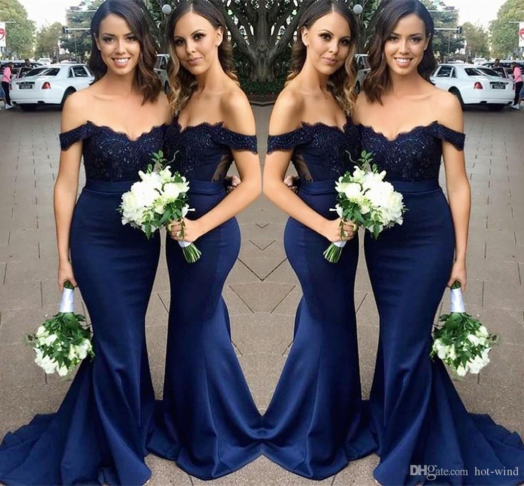 Cheap Elegant Navy Blue Bridesmaid Dresses Off The Shoulder Lace Appliques Mermaid Wedding Guest Prom Gowns Formal Party Dress